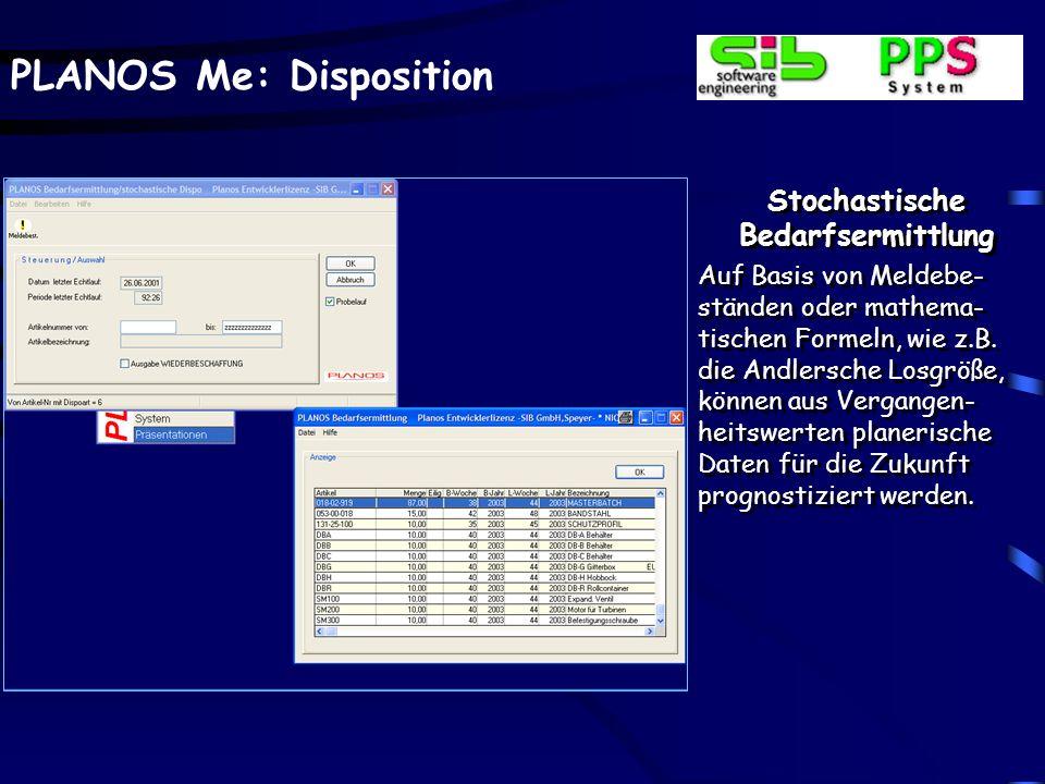 PLANOS Me: Disposition Stochastische Bedarfsermittlung Auf Basis von Meldebe- ständen oder mathema- tischen Formeln, wie z.B. die Andlersche Losgröße,