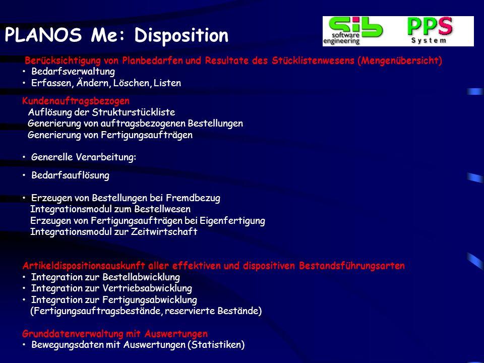 PLANOS Me: Disposition Berücksichtigung von Planbedarfen und Resultate des Stücklistenwesens (Mengenübersicht) Bedarfsverwaltung Erfassen, Ändern, Lös