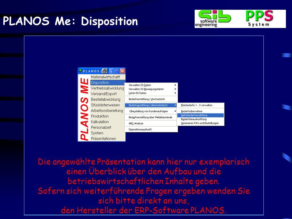 PLANOS Me: Disposition Die angewählte Präsentation kann hier nur exemplarisch einen Überblick über den Aufbau und die betriebswirtschaftlichen Inhalte