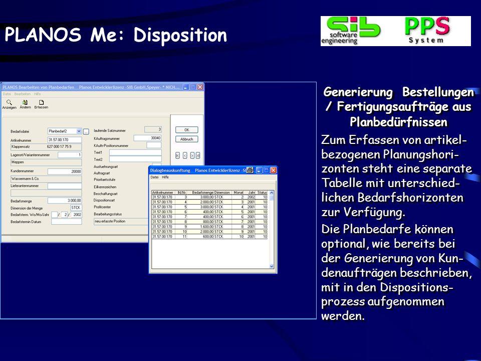 PLANOS Me: Disposition Generierung Bestellungen / Fertigungsaufträge aus Planbedürfnissen Zum Erfassen von artikel- bezogenen Planungshori- zonten ste