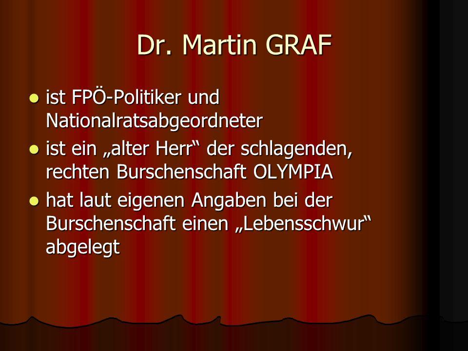 Dr. Martin GRAF ist FPÖ-Politiker und Nationalratsabgeordneter ist FPÖ-Politiker und Nationalratsabgeordneter ist ein alter Herr der schlagenden, rech