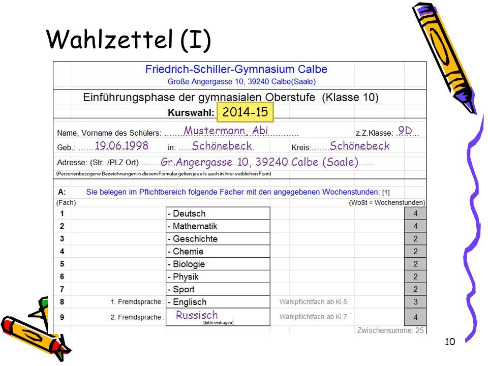 10 Wahlzettel (I) Mustermann, Abi 9D 19.06.1998 Schönebeck Schönebeck Gr.Angergasse 10, 39240 Calbe (Saale) Russisch 2014-15