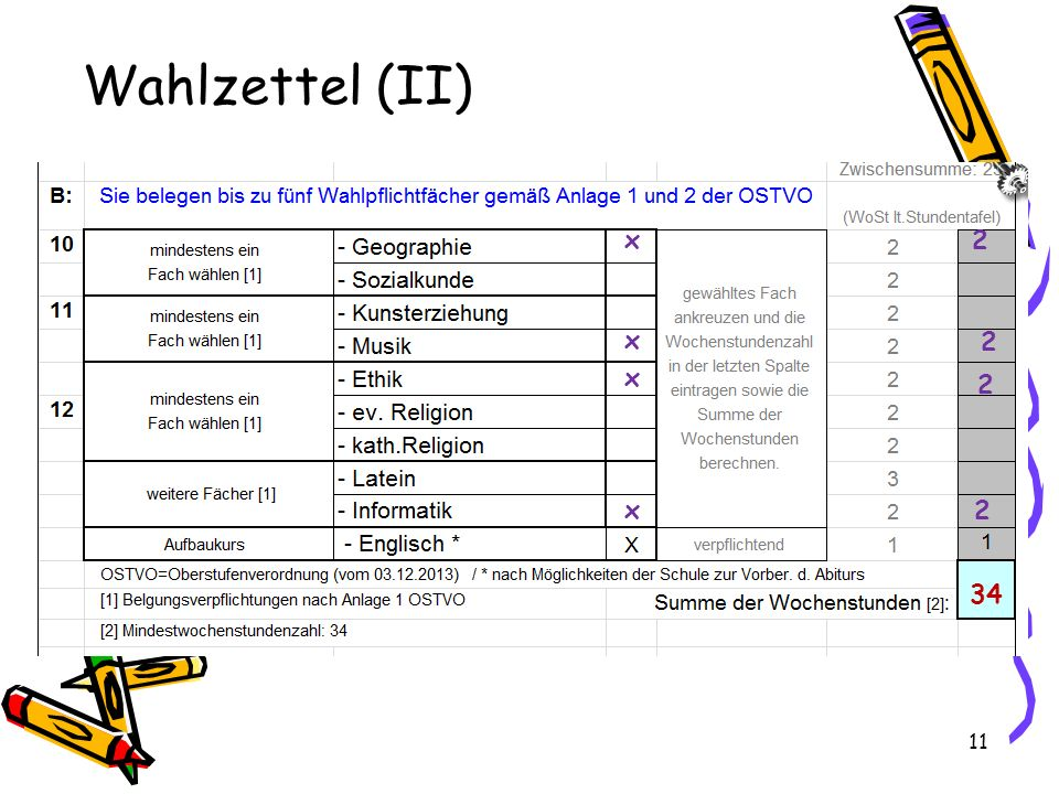 11 Wahlzettel (II) x x x x 2 2 2 2 34