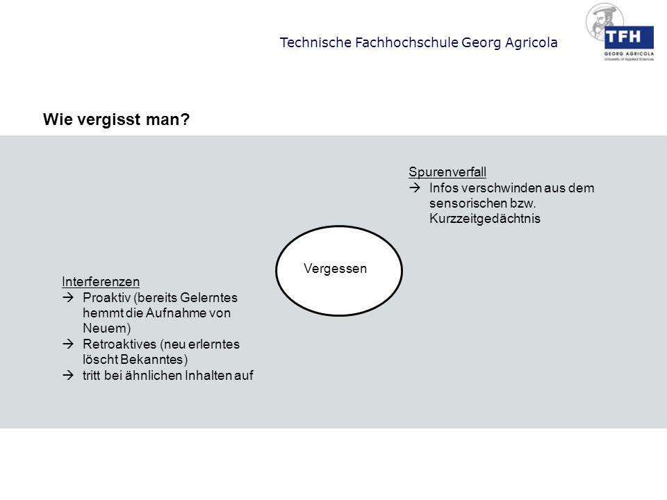 Technische Fachhochschule Georg Agricola Vergessen Spurenverfall Infos verschwinden aus dem sensorischen bzw. Kurzzeitgedächtnis Interferenzen Proakti
