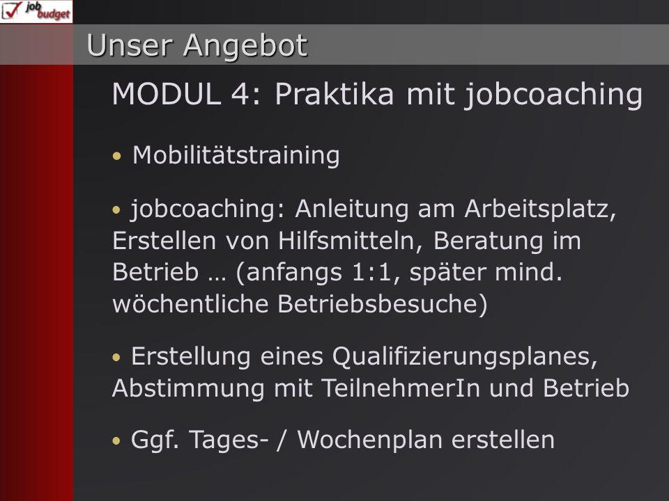 MODUL 4: Praktika mit jobcoaching Mobilitätstraining jobcoaching: Anleitung am Arbeitsplatz, Erstellen von Hilfsmitteln, Beratung im Betrieb … (anfangs 1:1, später mind.