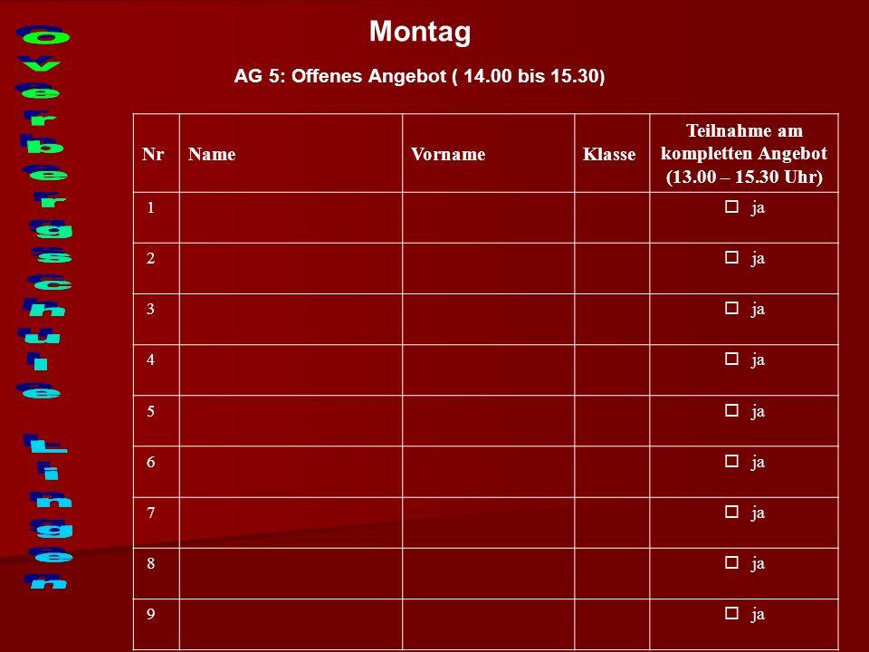 Montag AG 5: Offenes Angebot ( 14.00 bis 15.30 ) NrNameVornameKlasse Teilnahme am kompletten Angebot (13.00 – 15.30 Uhr) 1 ja 2 3 4 5 6 7 8 9