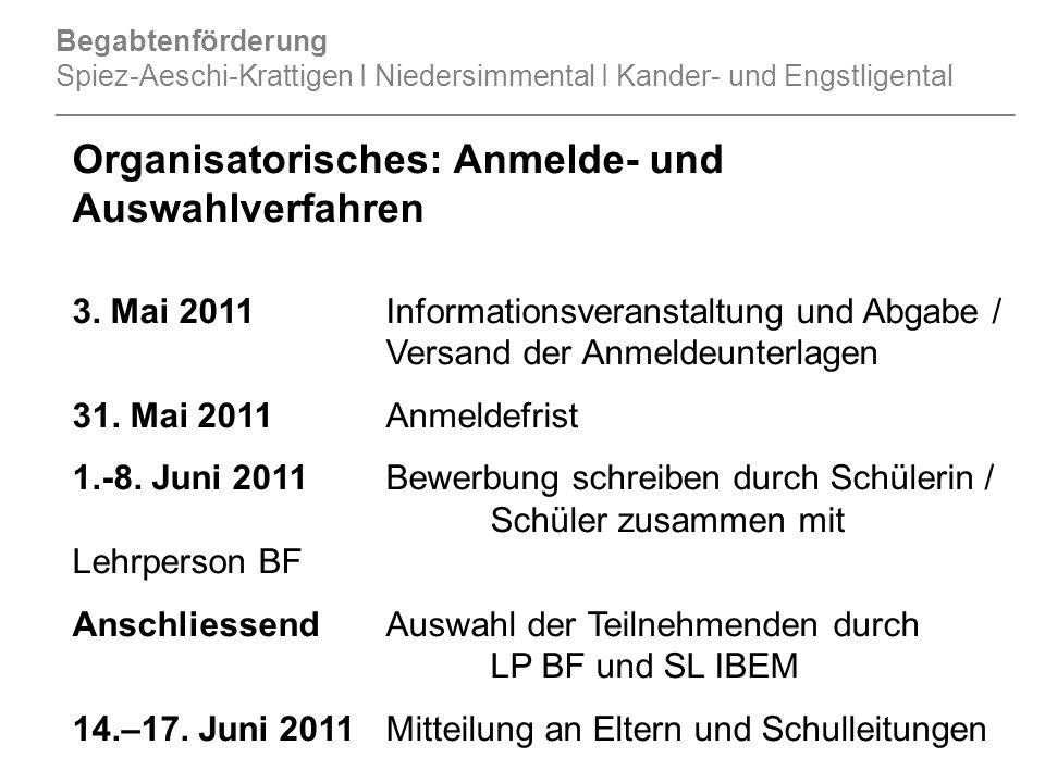 Organisatorisches: Anmelde- und Auswahlverfahren 3.