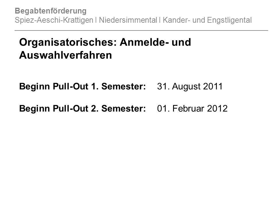 Organisatorisches: Anmelde- und Auswahlverfahren Beginn Pull-Out 1.