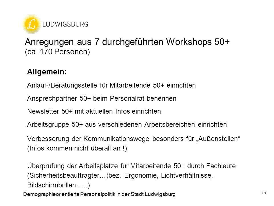 Anregungen aus 7 durchgeführten Workshops 50+ (ca. 170 Personen) Allgemein: Anlauf-/Beratungsstelle für Mitarbeitende 50+ einrichten Ansprechpartner 5