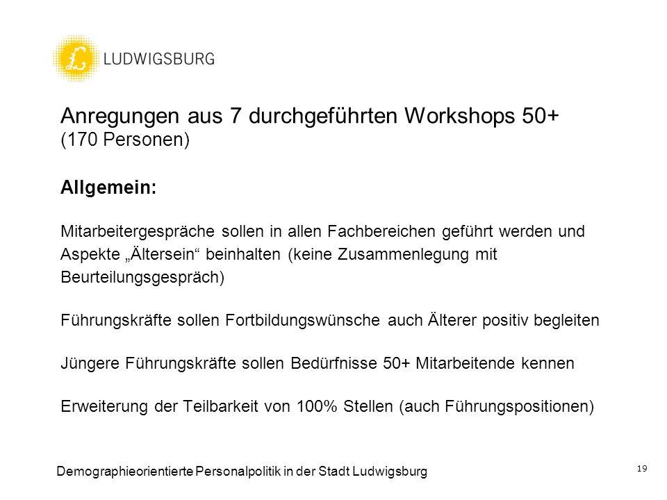 Anregungen aus 7 durchgeführten Workshops 50+ (170 Personen) Allgemein: Mitarbeitergespräche sollen in allen Fachbereichen geführt werden und Aspekte