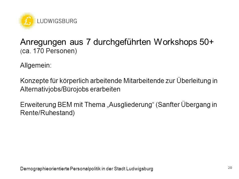 Anregungen aus 7 durchgeführten Workshops 50+ ( ca. 170 Personen) Allgemein: Konzepte für körperlich arbeitende Mitarbeitende zur Überleitung in Alter