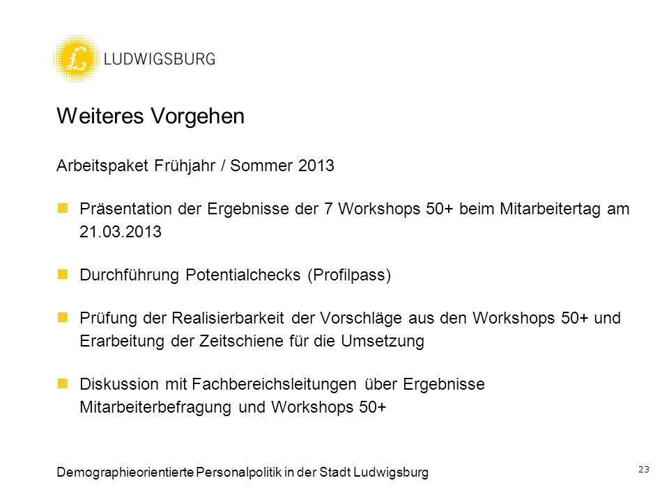 Weiteres Vorgehen Arbeitspaket Frühjahr / Sommer 2013 Präsentation der Ergebnisse der 7 Workshops 50+ beim Mitarbeitertag am 21.03.2013 Durchführung P