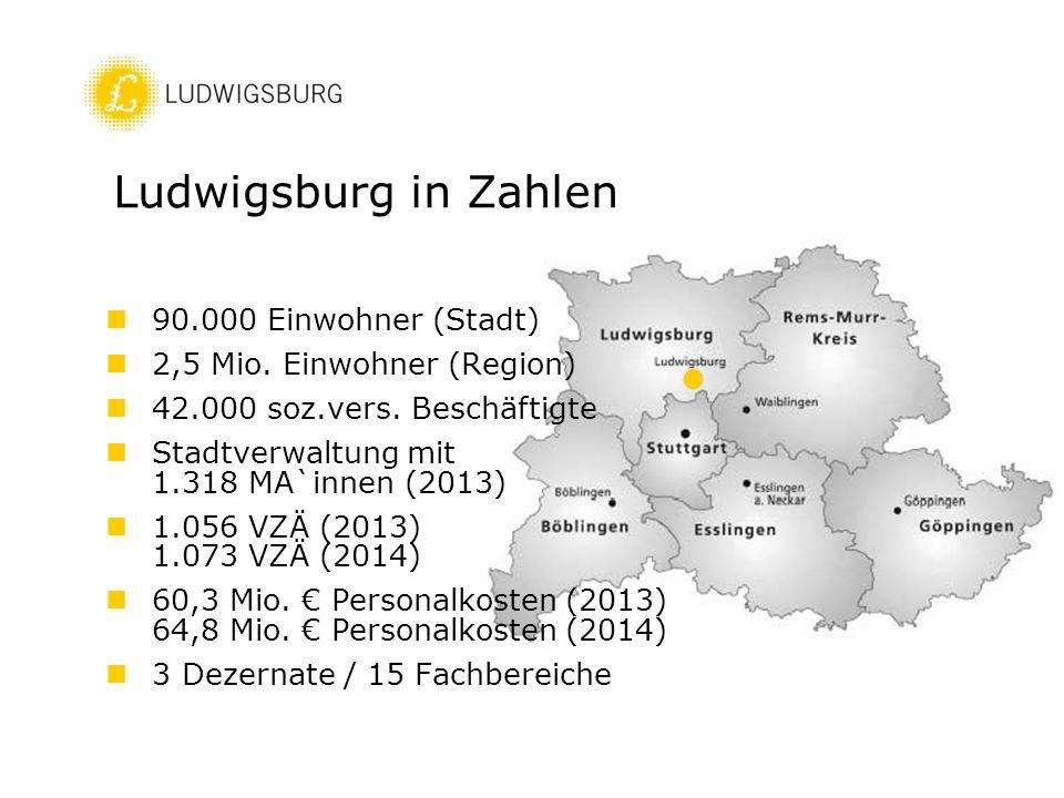 90.000 Einwohner (Stadt) 2,5 Mio. Einwohner (Region) 42.000 soz.vers. Beschäftigte Stadtverwaltung mit 1.318 MA`innen (2013) 1.056 VZÄ (2013) 1.073 VZ