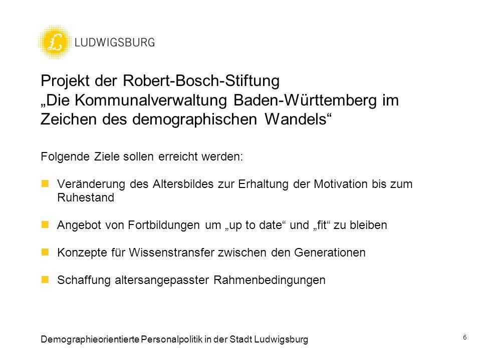Projekt der Robert-Bosch-Stiftung Die Kommunalverwaltung Baden-Württemberg im Zeichen des demographischen Wandels Folgende Ziele sollen erreicht werde