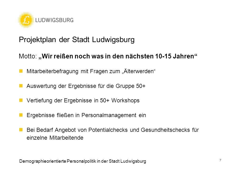 Projektplan der Stadt Ludwigsburg Motto: Wir reißen noch was in den nächsten 10-15 Jahren Mitarbeiterbefragung mit Fragen zum Älterwerden Auswertung d