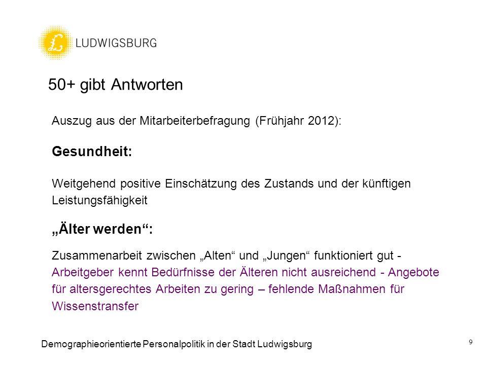 50+ gibt Antworten Auszug aus der Mitarbeiterbefragung (Frühjahr 2012): Gesundheit: Weitgehend positive Einschätzung des Zustands und der künftigen Le