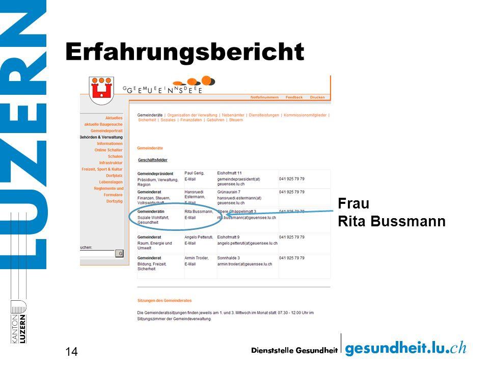 Erfahrungsbericht 14 Frau Rita Bussmann