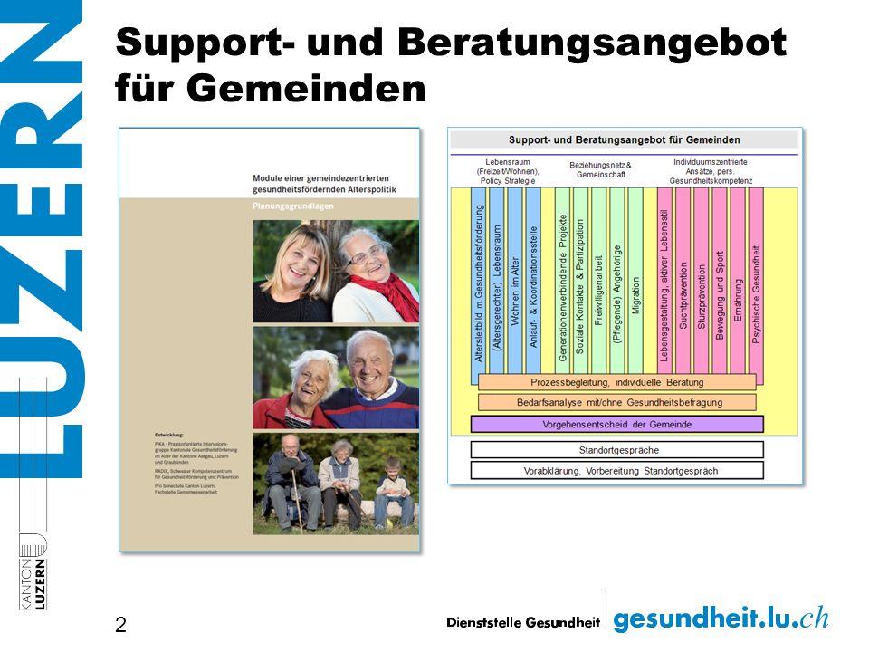 Zielsetzung von Gesundheitsförderung im Alter > Erhalt von Lebensqualität, Beziehungsnetzen, Selbständigkeit und Mobilität 3 = Verzögerung, Verminderung oder Verhinderung von Pflegebedürftigkeit (Heimeinweisungen)