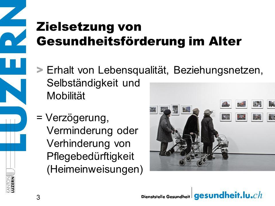 Zielsetzung von Gesundheitsförderung im Alter > Erhalt von Lebensqualität, Beziehungsnetzen, Selbständigkeit und Mobilität 3 = Verzögerung, Verminderu