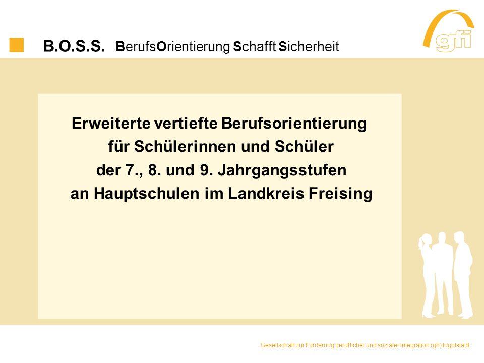 B.O.S.S. BerufsOrientierung Schafft Sicherheit Erweiterte vertiefte Berufsorientierung für Schülerinnen und Schüler der 7., 8. und 9. Jahrgangsstufen
