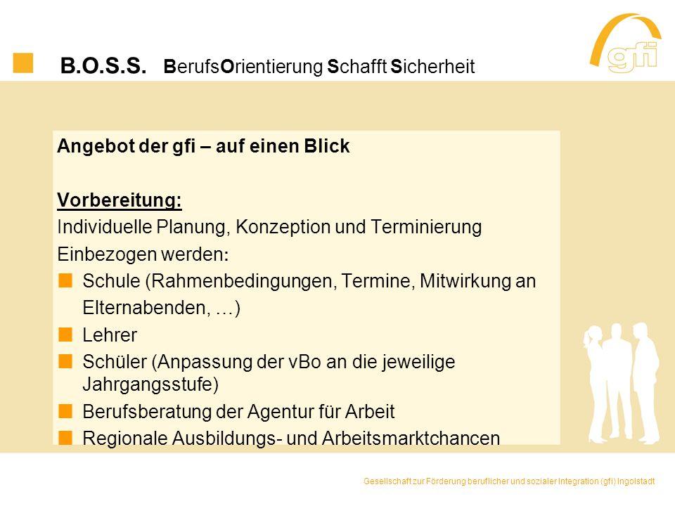 B.O.S.S. BerufsOrientierung Schafft Sicherheit Angebot der gfi – auf einen Blick Vorbereitung: Individuelle Planung, Konzeption und Terminierung Einbe