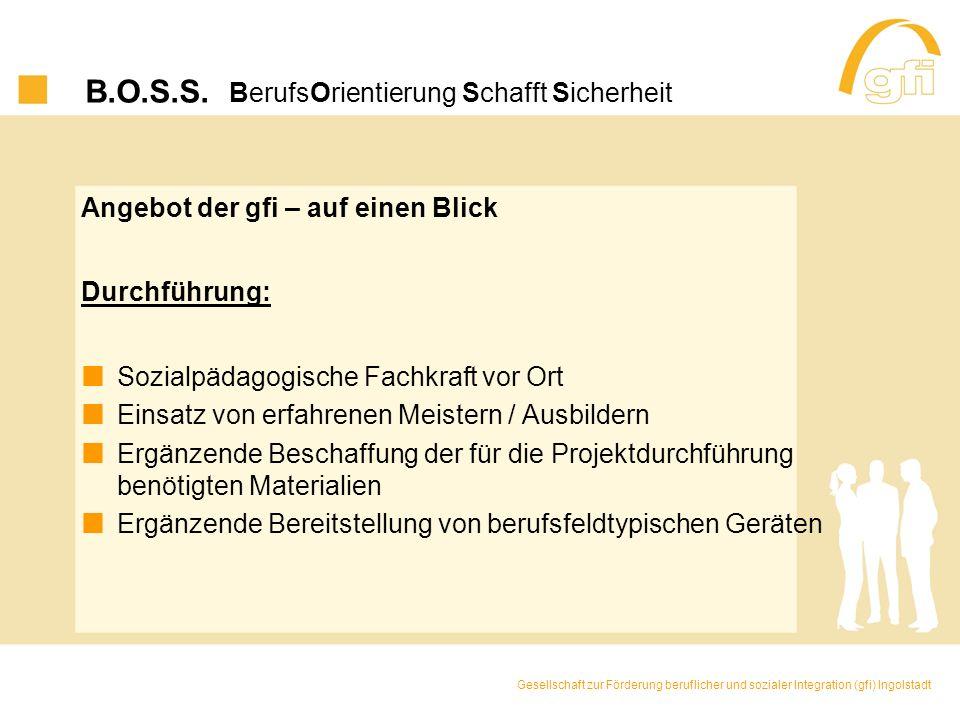 B.O.S.S. BerufsOrientierung Schafft Sicherheit Angebot der gfi – auf einen Blick Durchführung: Sozialpädagogische Fachkraft vor Ort Einsatz von erfahr