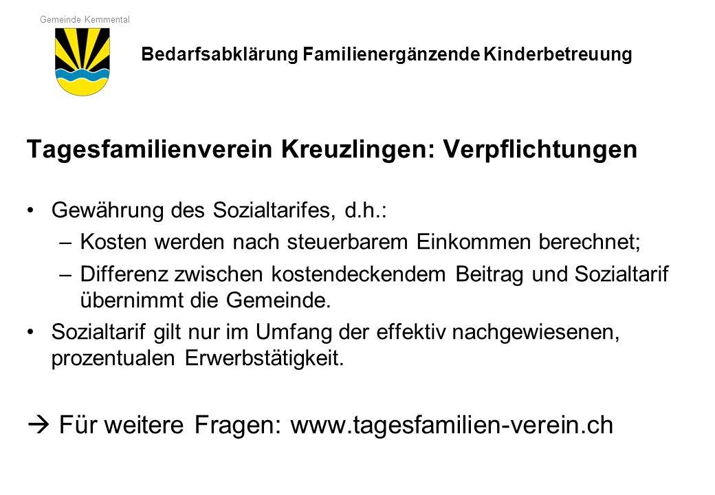 Gemeinde Kemmental Tagesfamilienverein Kreuzlingen: Verpflichtungen Gewährung des Sozialtarifes, d.h.: –Kosten werden nach steuerbarem Einkommen berec