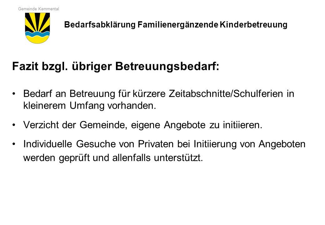 Gemeinde Kemmental Fazit bzgl. übriger Betreuungsbedarf: Bedarf an Betreuung für kürzere Zeitabschnitte/Schulferien in kleinerem Umfang vorhanden. Ver