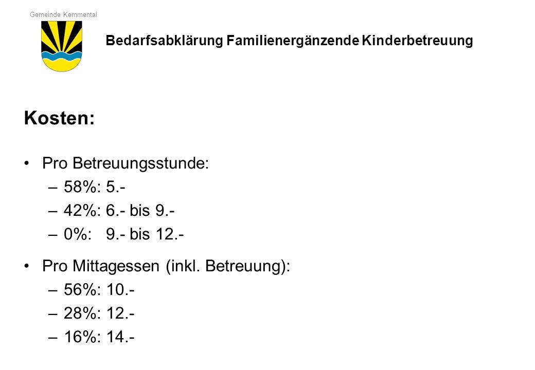Gemeinde Kemmental Kosten: Pro Betreuungsstunde: –58%: 5.- –42%: 6.- bis 9.- –0%: 9.- bis 12.- Pro Mittagessen (inkl. Betreuung): –56%: 10.- –28%: 12.