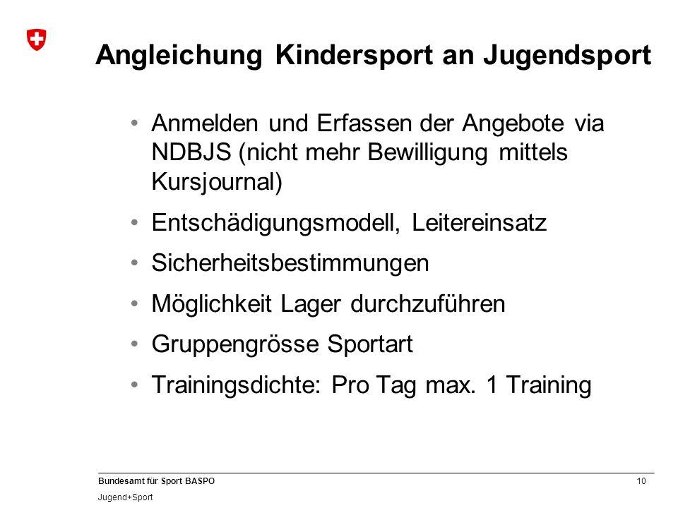 10 Bundesamt für Sport BASPO Jugend+Sport Angleichung Kindersport an Jugendsport Anmelden und Erfassen der Angebote via NDBJS (nicht mehr Bewilligung