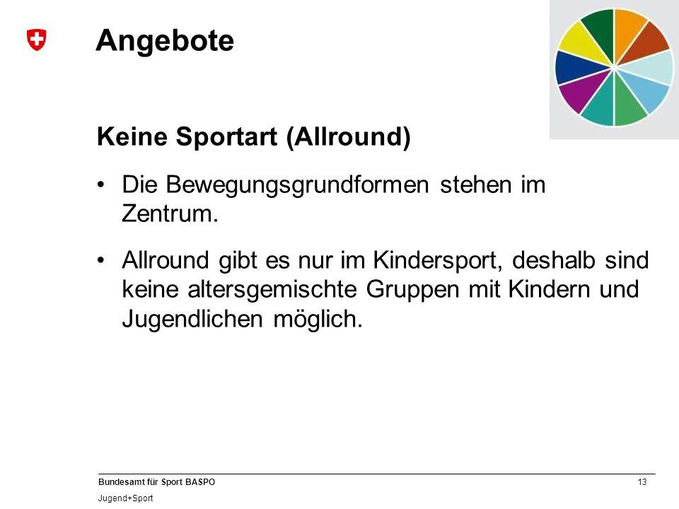 13 Bundesamt für Sport BASPO Jugend+Sport Angebote Keine Sportart (Allround) Die Bewegungsgrundformen stehen im Zentrum. Allround gibt es nur im Kinde