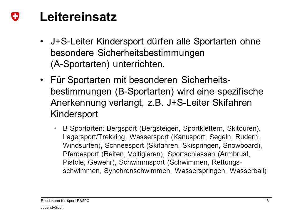 18 Bundesamt für Sport BASPO Jugend+Sport Leitereinsatz J+S-Leiter Kindersport dürfen alle Sportarten ohne besondere Sicherheitsbestimmungen (A-Sporta