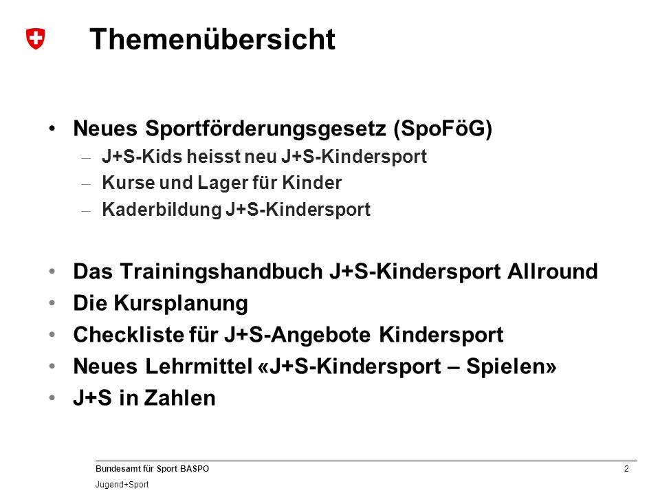 2 Bundesamt für Sport BASPO Jugend+Sport Neues Sportförderungsgesetz (SpoFöG) J+S-Kids heisst neu J+S-Kindersport Kurse und Lager für Kinder Kaderbild