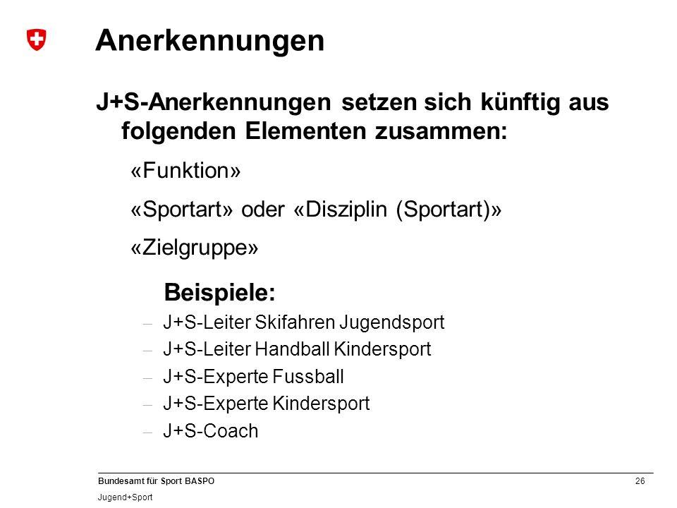 26 Bundesamt für Sport BASPO Jugend+Sport Anerkennungen J+S-Anerkennungen setzen sich künftig aus folgenden Elementen zusammen: «Funktion» «Sportart»