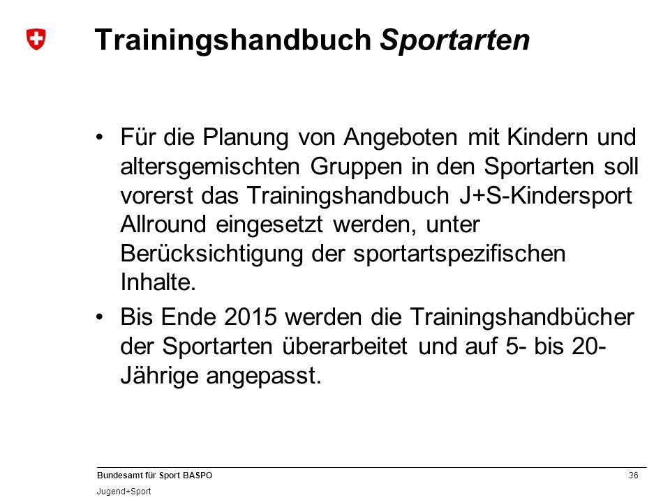 36 Bundesamt für Sport BASPO Jugend+Sport Trainingshandbuch Sportarten Für die Planung von Angeboten mit Kindern und altersgemischten Gruppen in den S