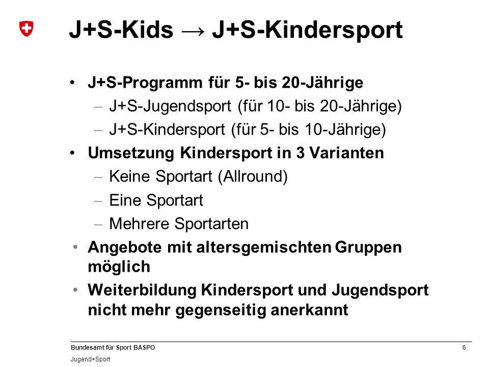 6 Bundesamt für Sport BASPO Jugend+Sport J+S-Kids J+S-Kindersport J+S-Programm für 5- bis 20-Jährige J+S-Jugendsport (für 10- bis 20-Jährige) J+S-Kind