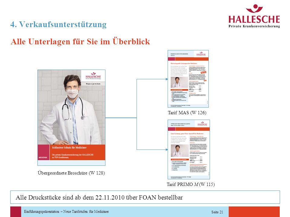 Einführungspräsentation – Neue Tarifstufen für Mediziner Seite 21 4. Verkaufsunterstützung Alle Unterlagen für Sie im Überblick Übergeordnete Broschür