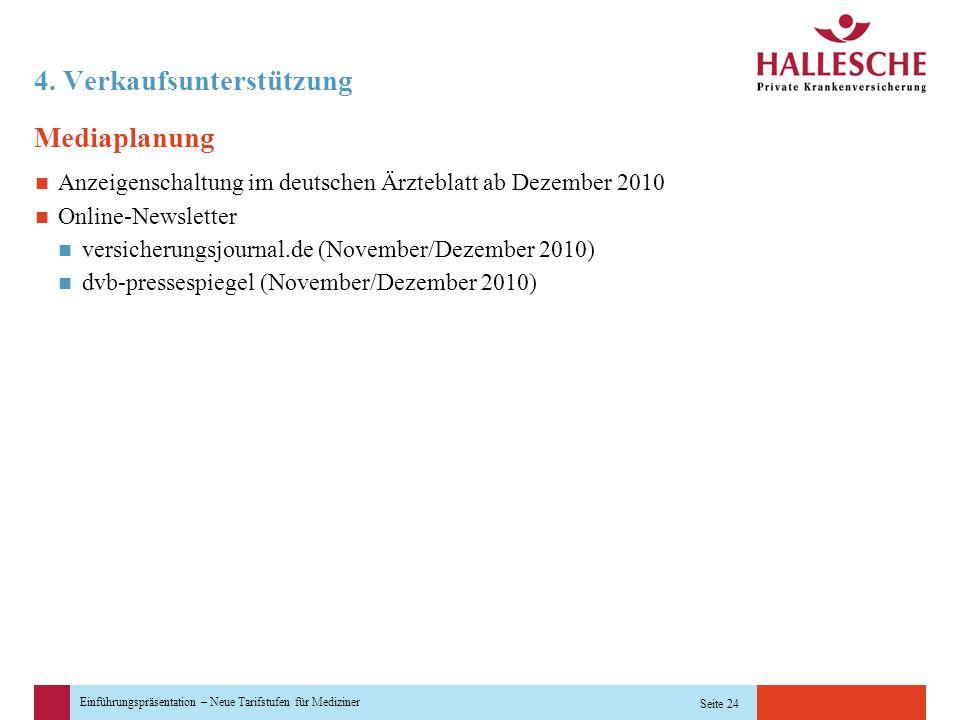 Einführungspräsentation – Neue Tarifstufen für Mediziner Seite 24 4. Verkaufsunterstützung Mediaplanung Anzeigenschaltung im deutschen Ärzteblatt ab D
