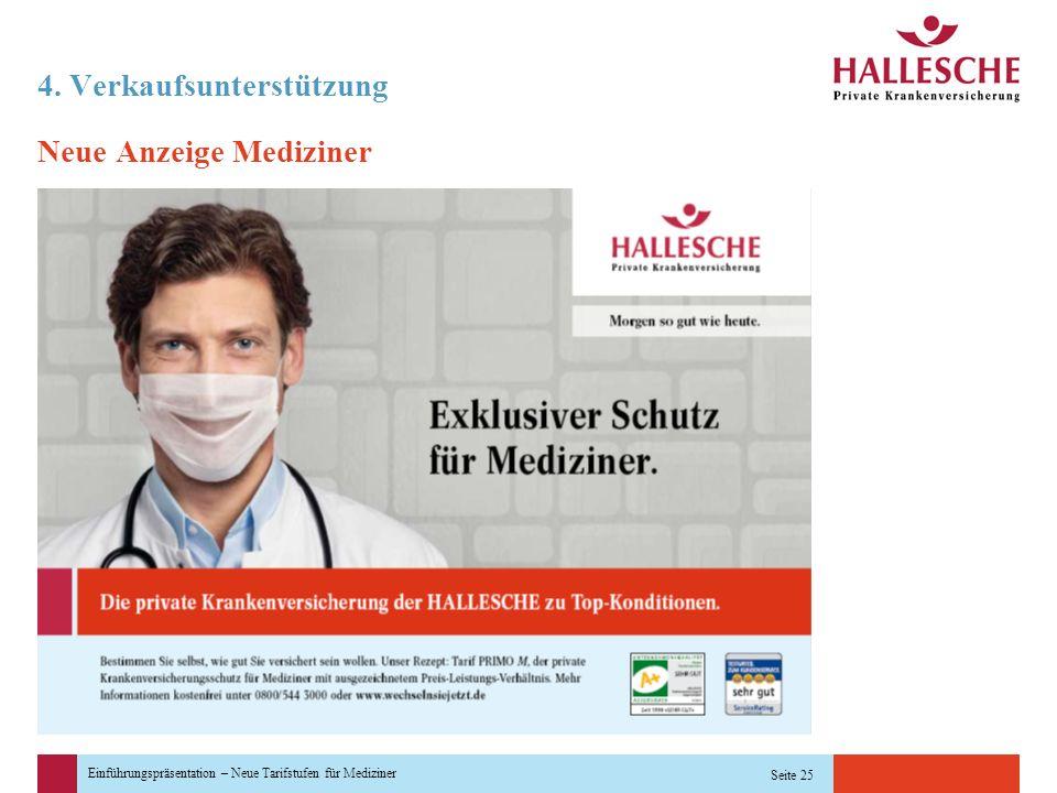 Einführungspräsentation – Neue Tarifstufen für Mediziner Seite 25 4. Verkaufsunterstützung Neue Anzeige Mediziner
