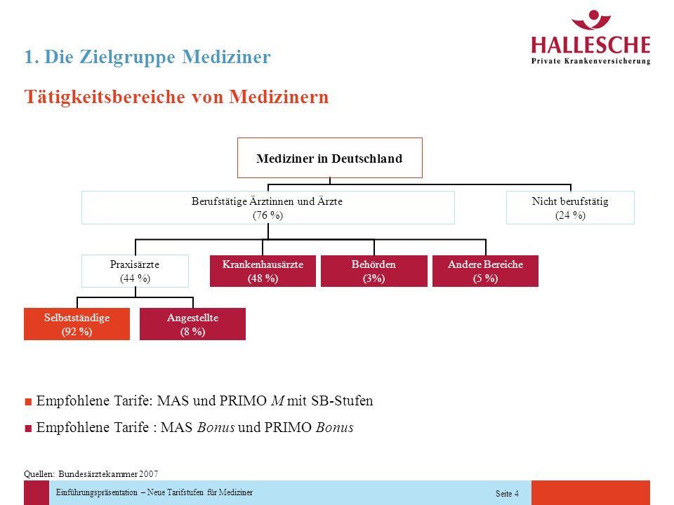 Einführungspräsentation – Neue Tarifstufen für Mediziner Seite 4 Tätigkeitsbereiche von Medizinern 1. Die Zielgruppe Mediziner Andere Bereiche (5 %) B