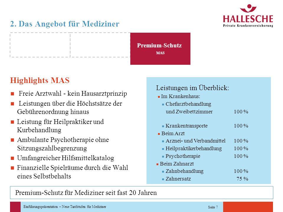 Einführungspräsentation – Neue Tarifstufen für Mediziner Seite 7 Leistungen im Überblick: Im Krankenhaus: Chefarztbehandlung und Zweibettzimmer100 % K