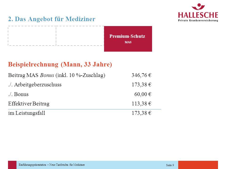 Einführungspräsentation – Neue Tarifstufen für Mediziner Seite 9 2. Das Angebot für Mediziner Beispielrechnung (Mann, 33 Jahre) Beitrag MAS Bonus (ink