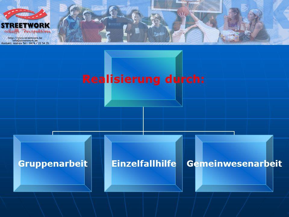 Realisierung durch: GruppenarbeitEinzelfallhilfeGemeinwesenarbeit