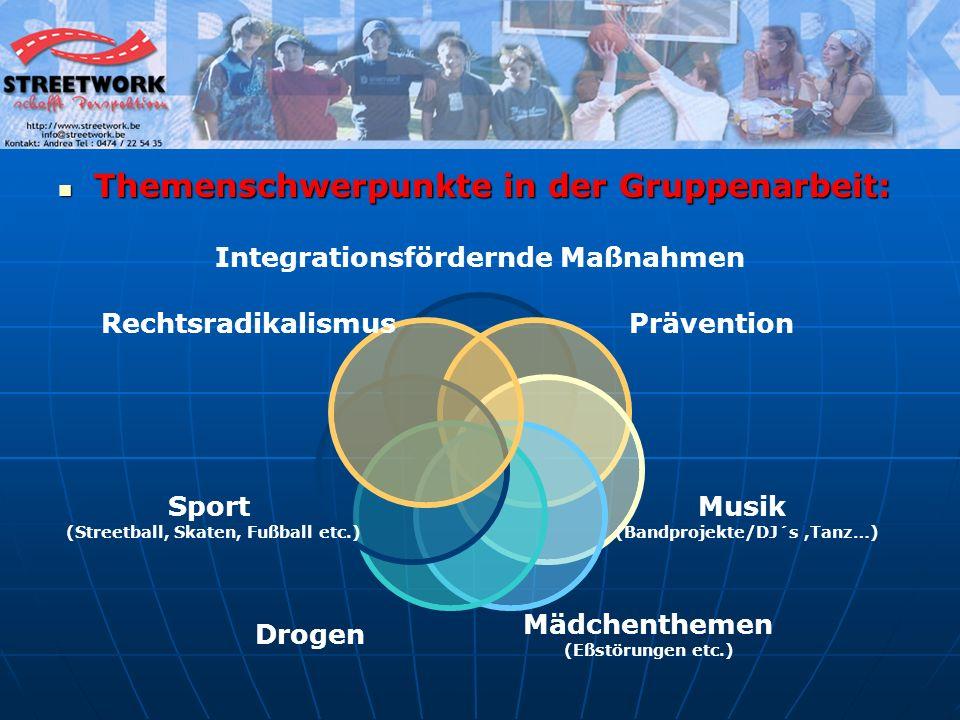 Themenschwerpunkte in der Gruppenarbeit: Themenschwerpunkte in der Gruppenarbeit: Integrationsfördernde Maßnahmen Prävention Musik (Bandprojekte/DJ´s,Tanz…) Mädchenthemen (Eßstörungen etc.) Drogen Sport (Streetball, Skaten, Fußball etc.) Rechtsradikalismus