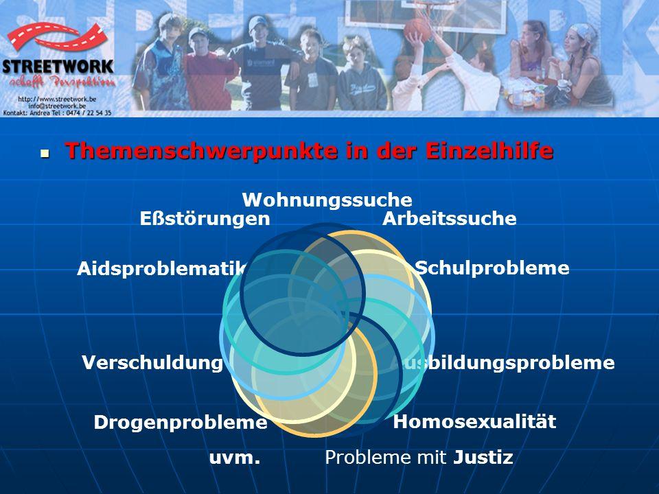 Themenschwerpunkte in der Einzelhilfe Themenschwerpunkte in der Einzelhilfe Wohnungssuche Arbeitssuche Schulprobleme AusbildungsproblemeHomosexualität Probleme mit Justiz uvm.