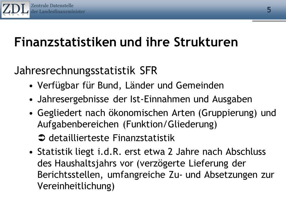 5 Finanzstatistiken und ihre Strukturen Jahresrechnungsstatistik SFR Verfügbar für Bund, Länder und Gemeinden Jahresergebnisse der Ist-Einnahmen und A