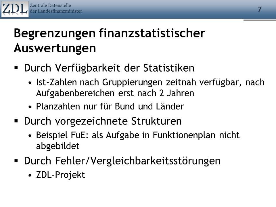 8 Ergebnisse des ZDL-Projekts Vergleichbare Datengrundlagen Zusammengefasste Finanzdaten von Landes- und Kommunalebene sind belastbarer.