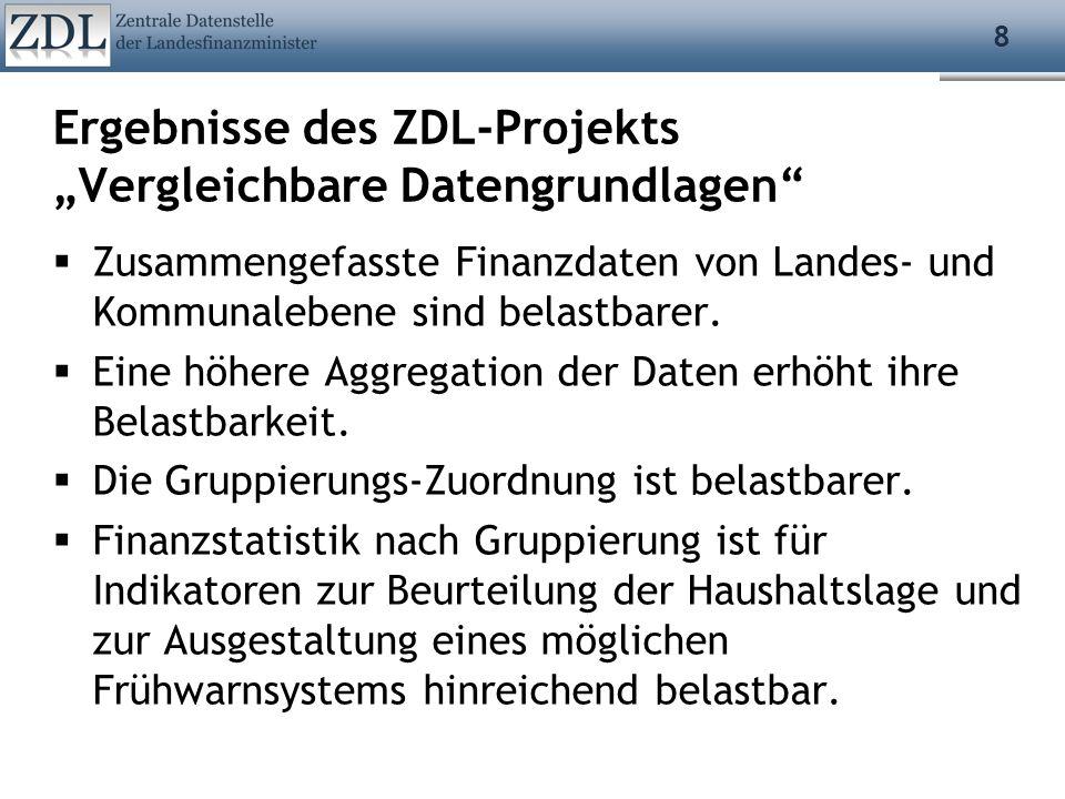 8 Ergebnisse des ZDL-Projekts Vergleichbare Datengrundlagen Zusammengefasste Finanzdaten von Landes- und Kommunalebene sind belastbarer. Eine höhere A