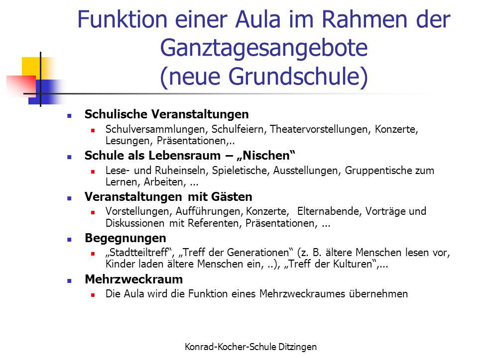 Konrad-Kocher-Schule Ditzingen Funktion einer Aula im Rahmen der Ganztagesangebote (neue Grundschule) Schulische Veranstaltungen Schulversammlungen, S