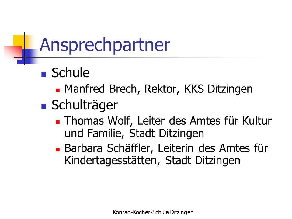 Konrad-Kocher-Schule Ditzingen Ansprechpartner Schule Manfred Brech, Rektor, KKS Ditzingen Schulträger Thomas Wolf, Leiter des Amtes für Kultur und Fa